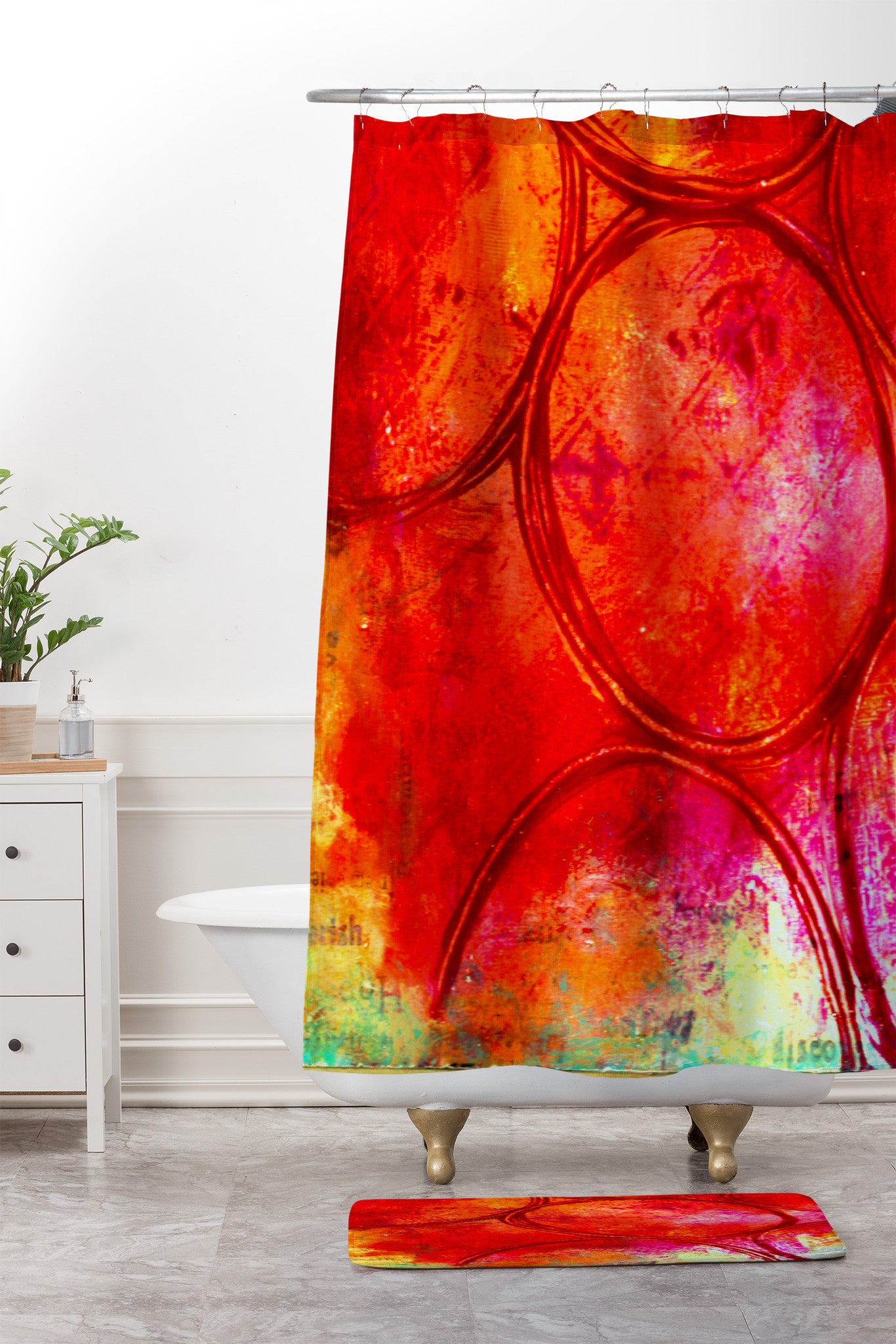 Sophia Buddenhagen Bright Red Circles Shower Curtain And Mat