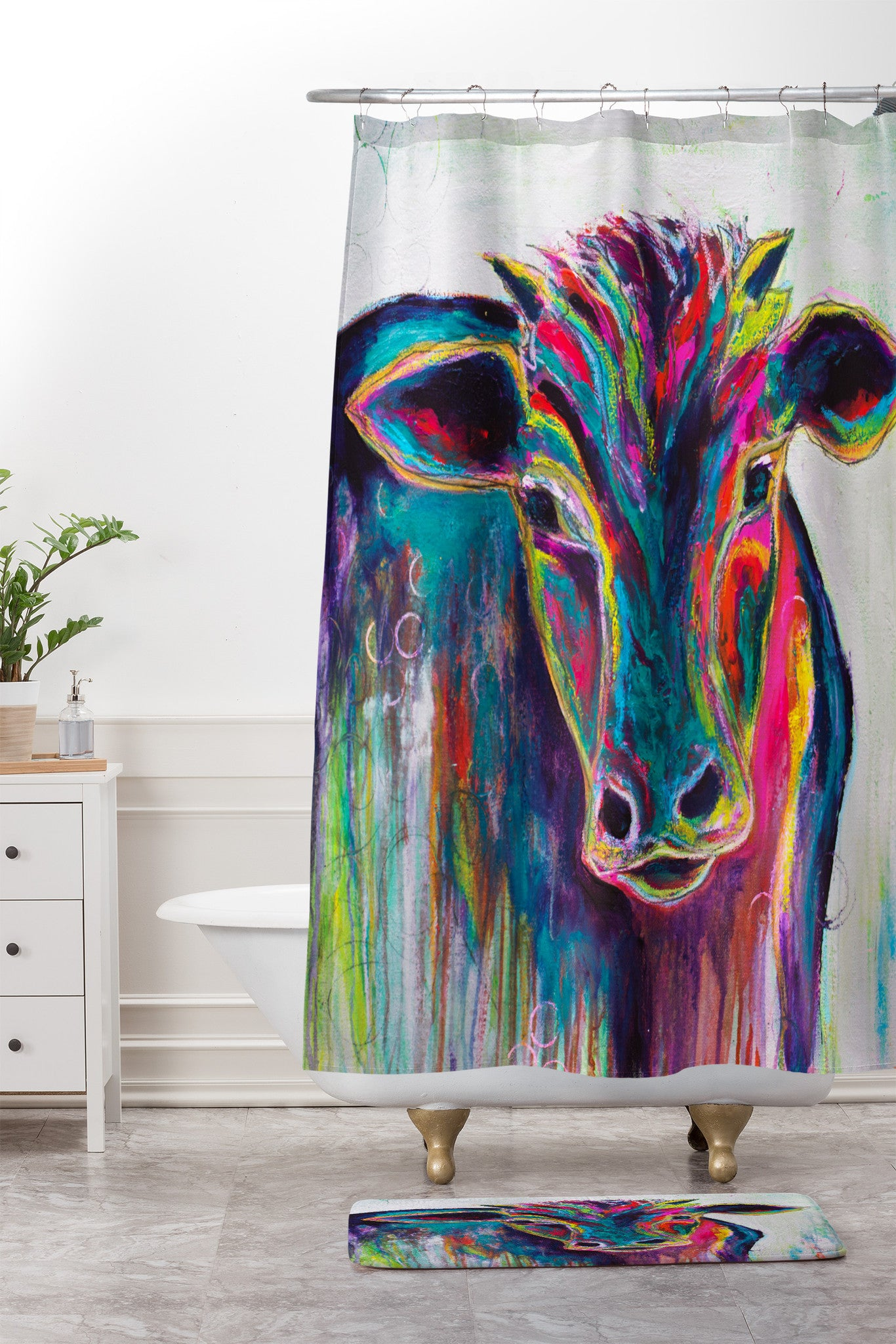 Sophia Buddenhagen Texas Cow Shower Curtain And Mat