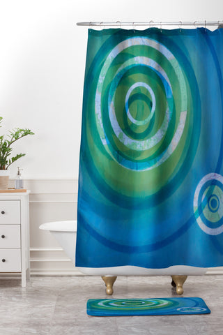 Stacey Schultz Circle Maps Blue Green Shower Curtain And Mat
