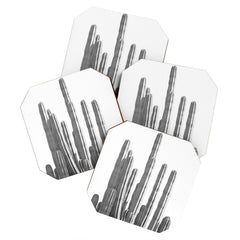 Summer Sun Home Art Black and White Cactus Coaster Set