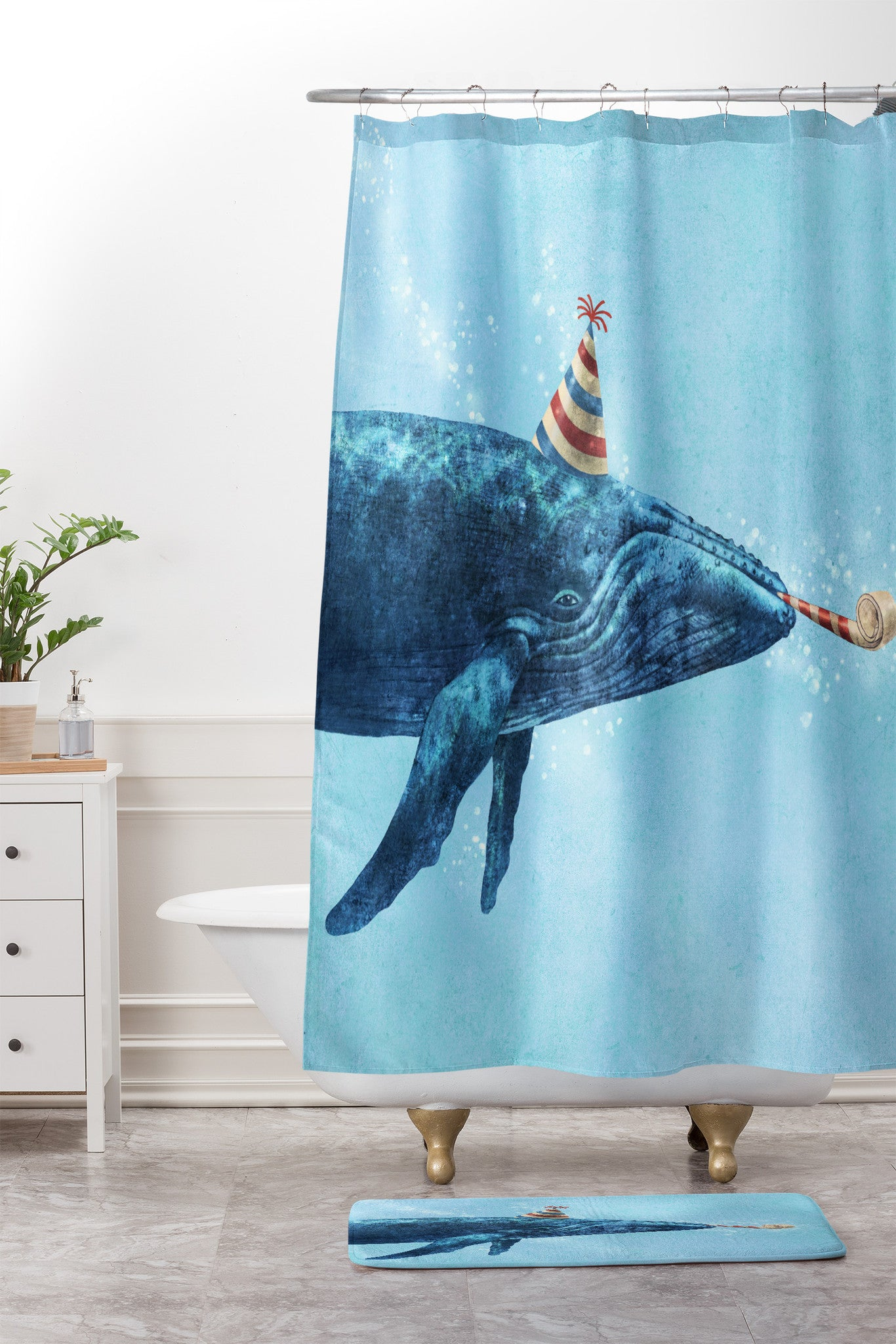 Party Whale Shower Curtain And Mat By Terry Fan