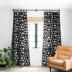The Old Art Studio Mid Century Modern 04 Black Blackout Window Curtain