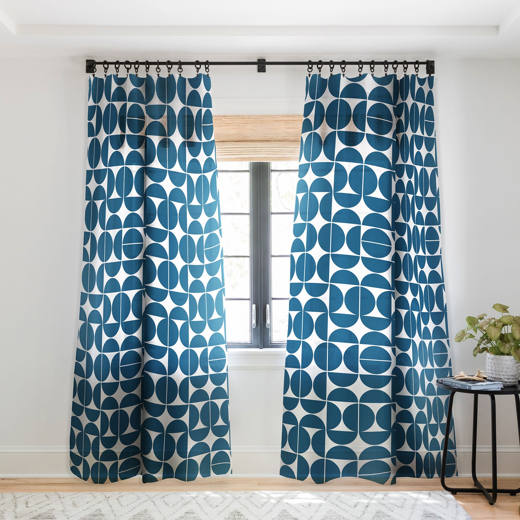 Picture of: Mid Century Modern 04 Blue Sheer Window Curtain The Old Art Studio