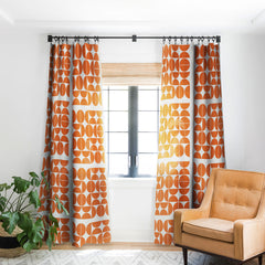 The Old Art Studio Mid Century Modern 04 Orange Blackout Window Curtain