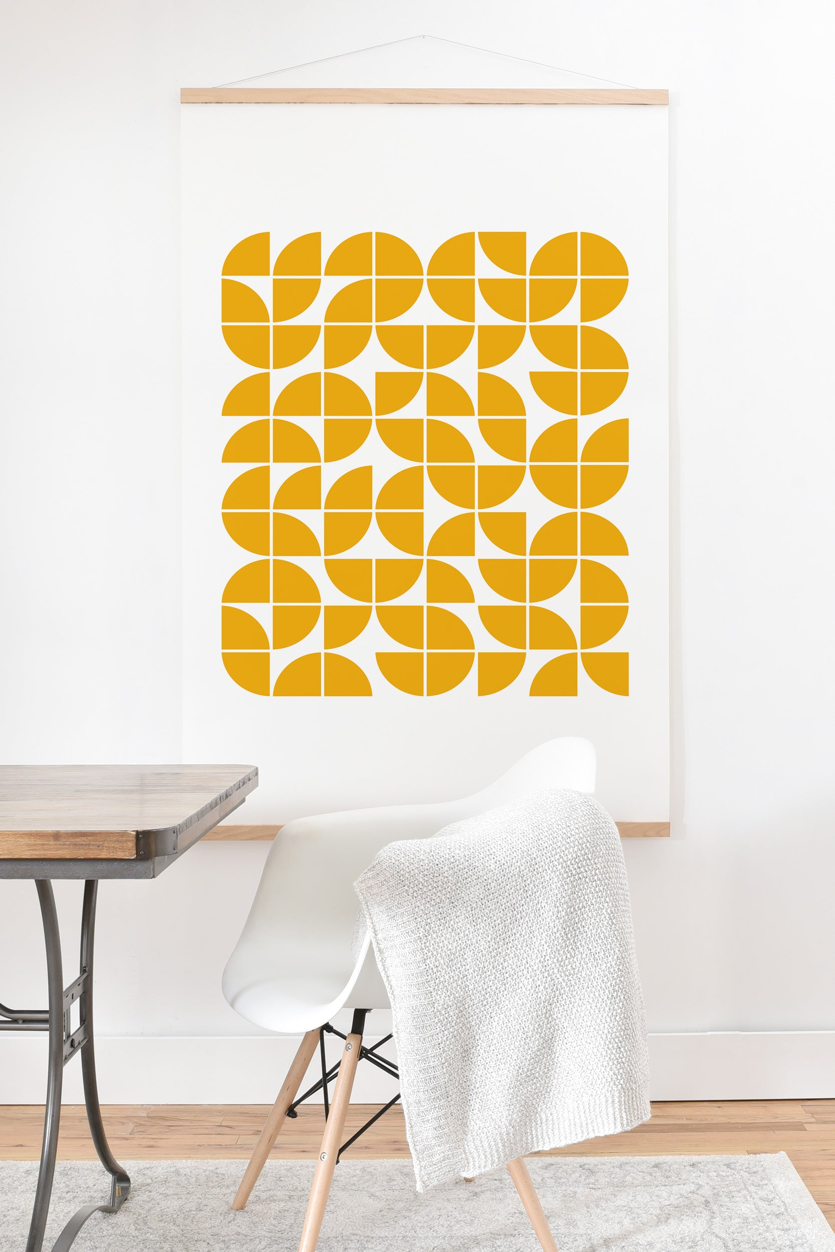 Mid Century Modern Geometric 20 Yellow Art Print And Hanger The Old ...