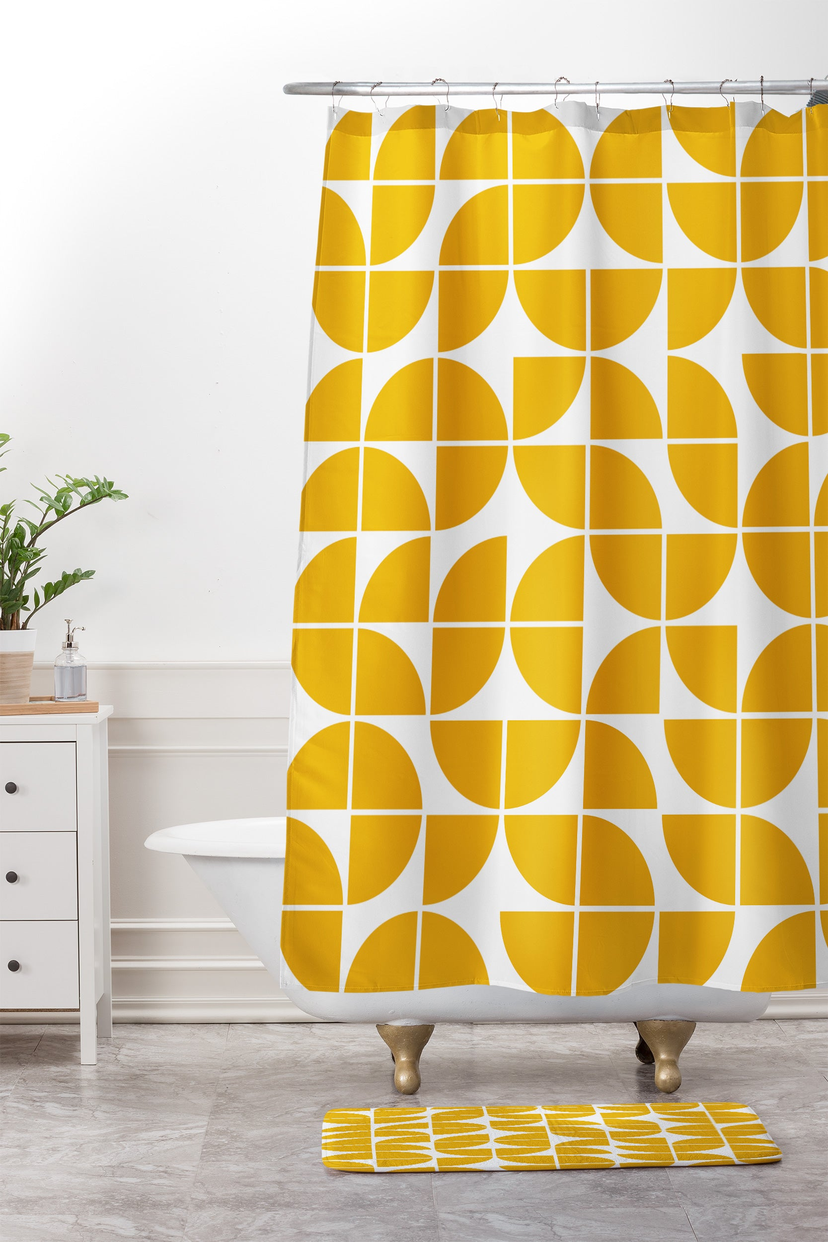 The Old Art Studio Mid Century Modern Geometric 20 Yellow Shower Curtain And Mat
