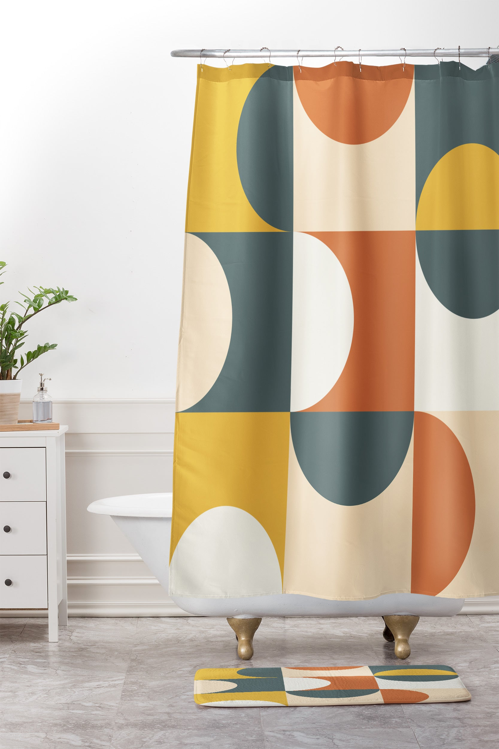 Image of: Mid Century Modern Geometric 23 Shower Curtain And Mat The Old Art Studio