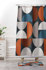 The Old Art Studio Mid Century Modern Geometric 24 Shower Curtain And Mat