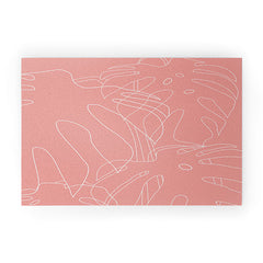 The Old Art Studio Monstera No2 Pink Welcome Mat