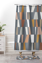 The Old Art Studio Neutral Geometric 02 Shower Curtain And Mat