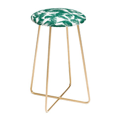 The Old Art Studio Palm Leaf Pattern 02 Green Counter Stool