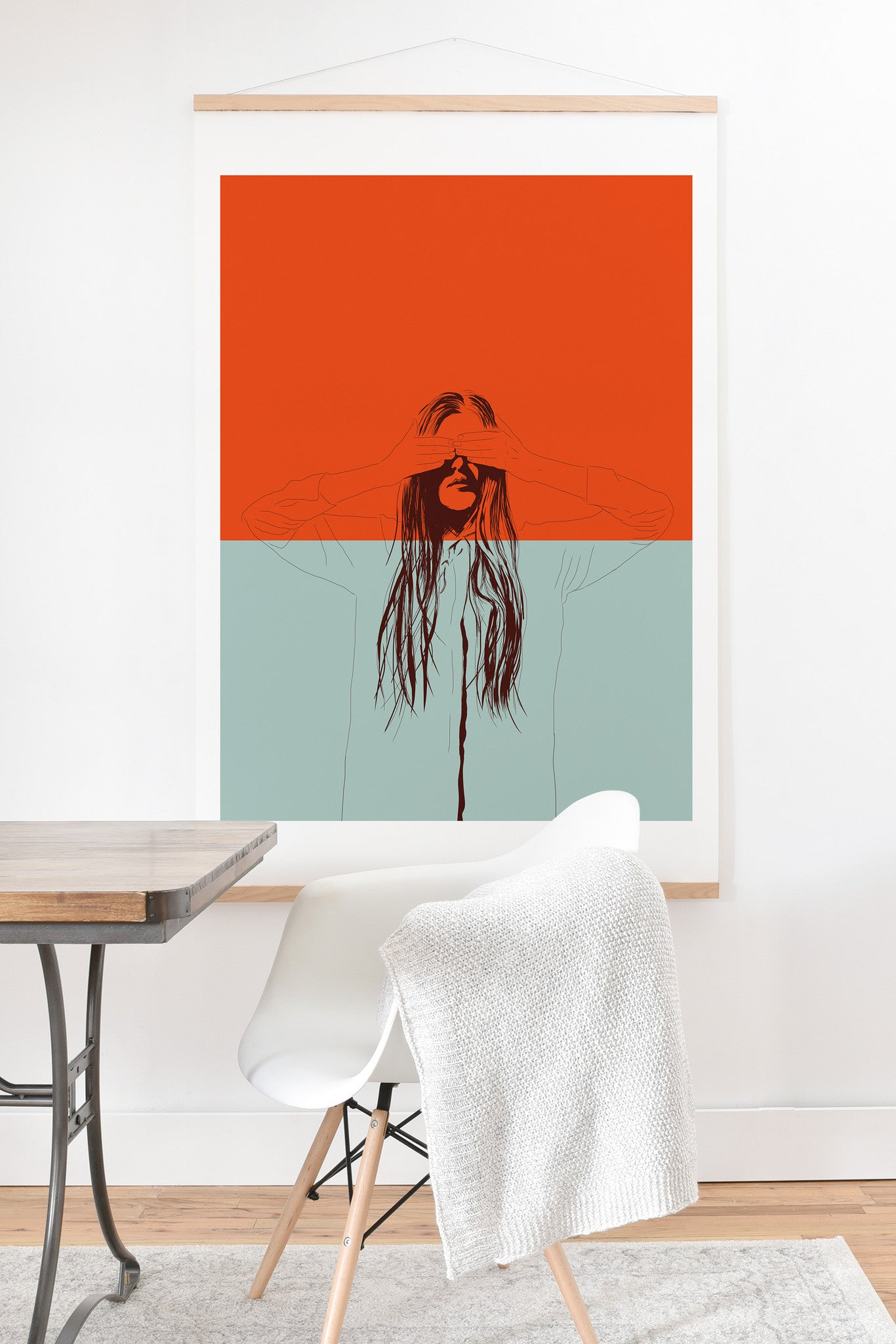 The Red Wolf Woman Color 2 Art Print And Hanger