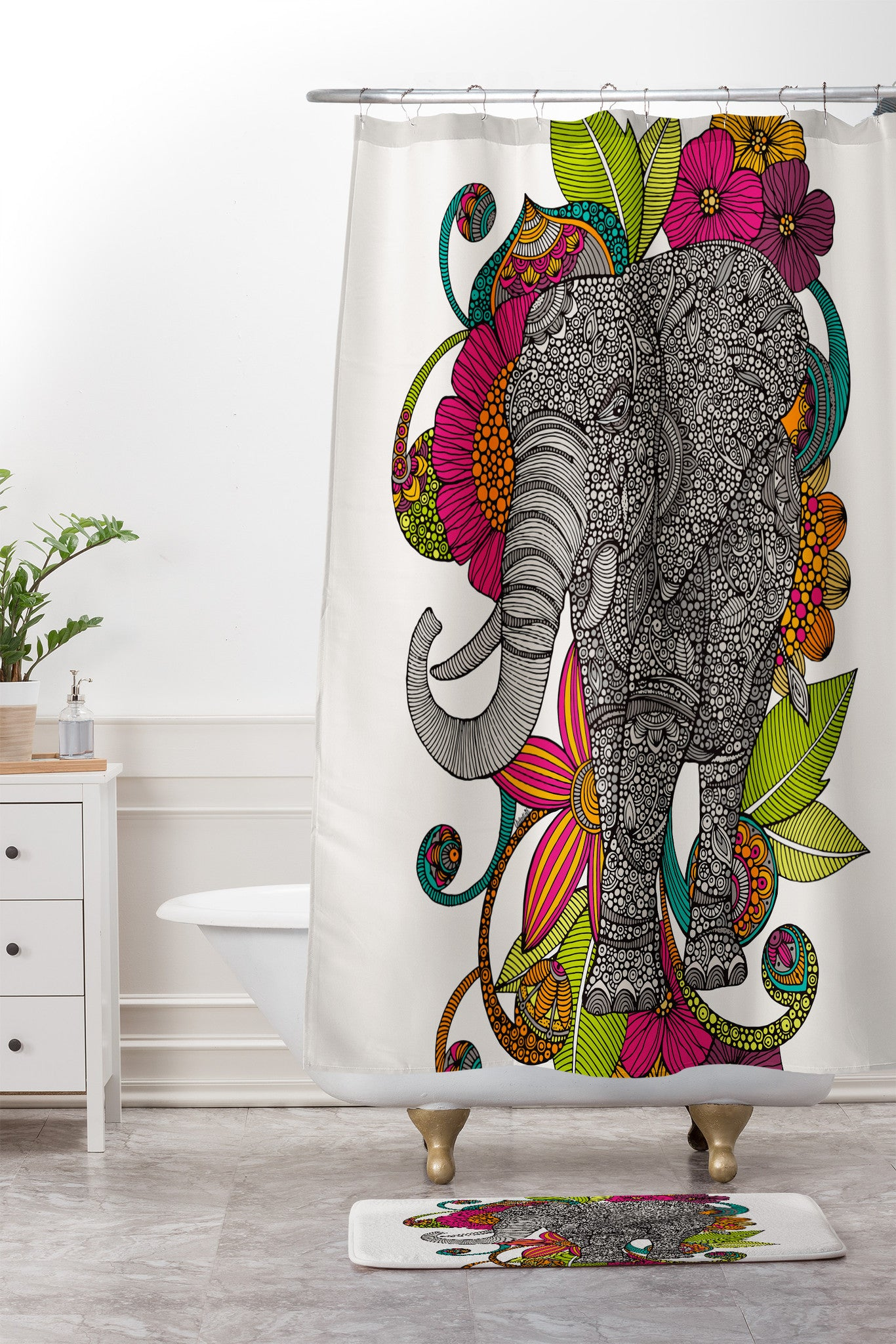 Valentina Ramos Ruby The Elephant Shower Curtain And Mat