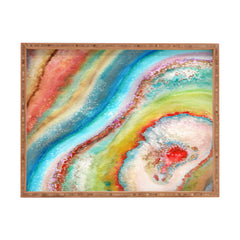 Viviana Gonzalez AGATE Inspired Watercolor Abstract 01 Rectangular Tray