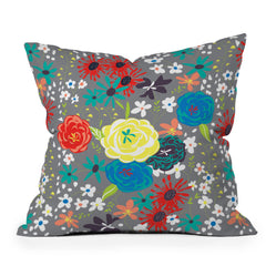 Vy La Bloomimg Love Gray Throw Pillow