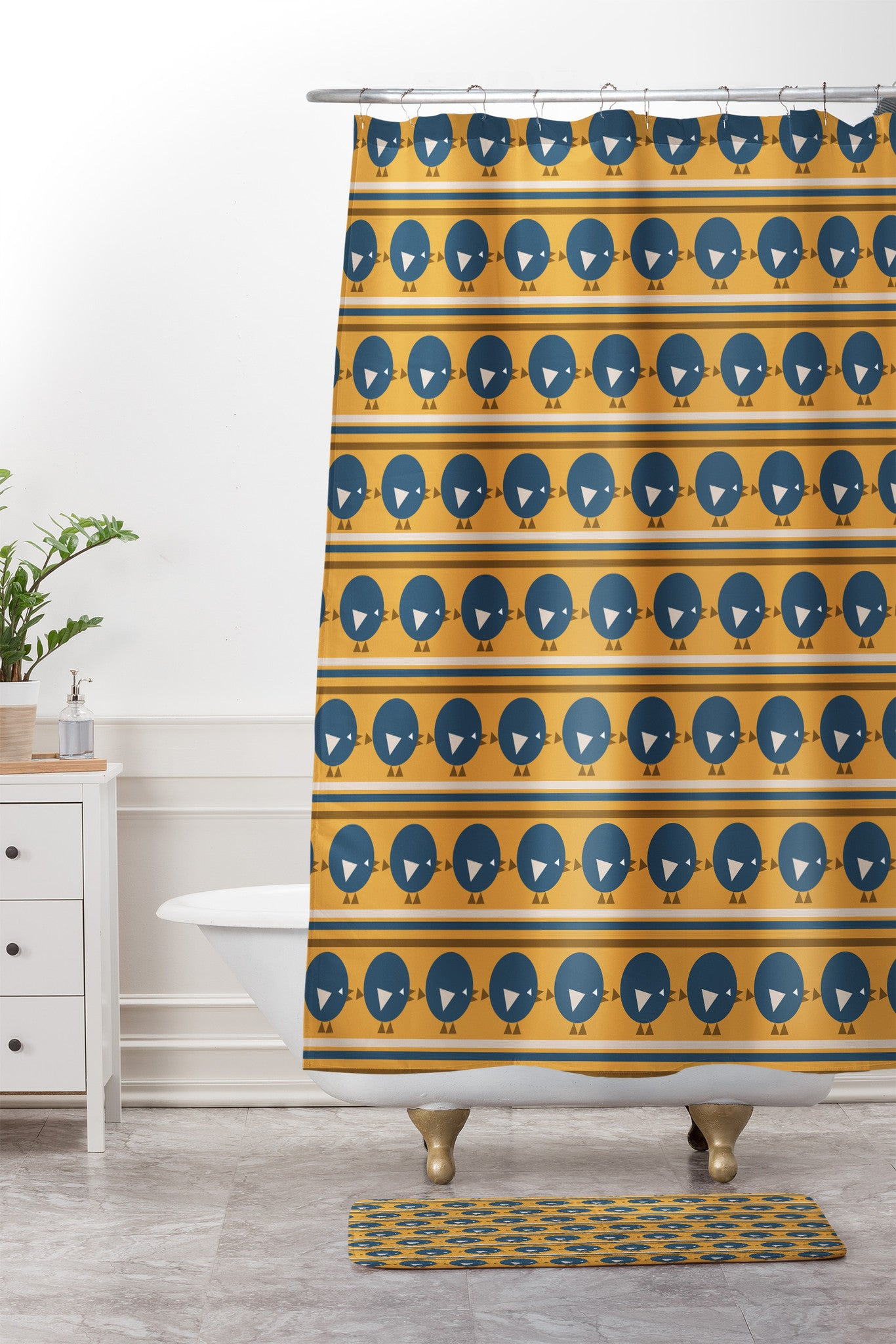 Vy La Geo Bird Print Blue Shower Curtain And Mat