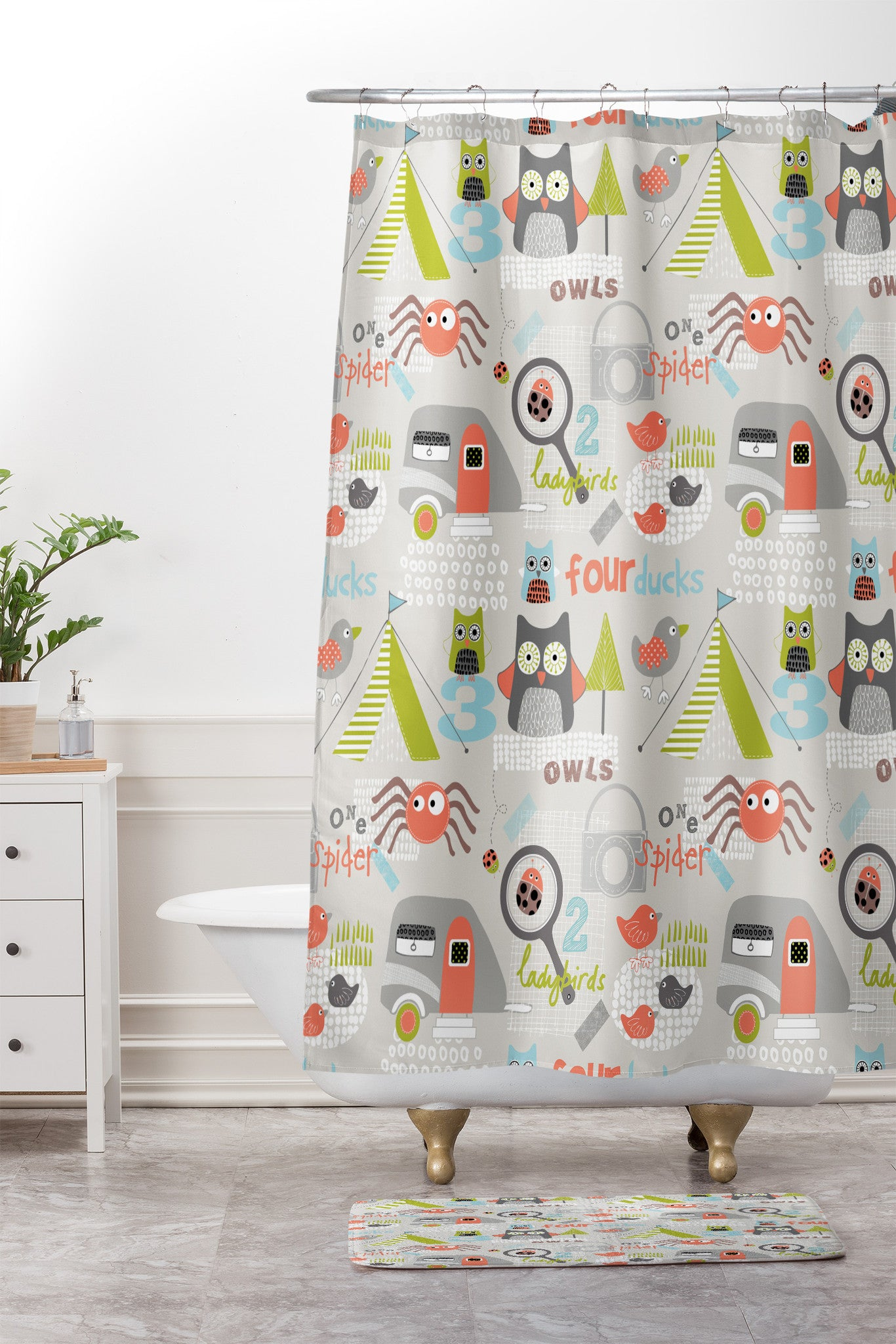 Wendy Kendall Mini Camper Shower Curtain And Mat
