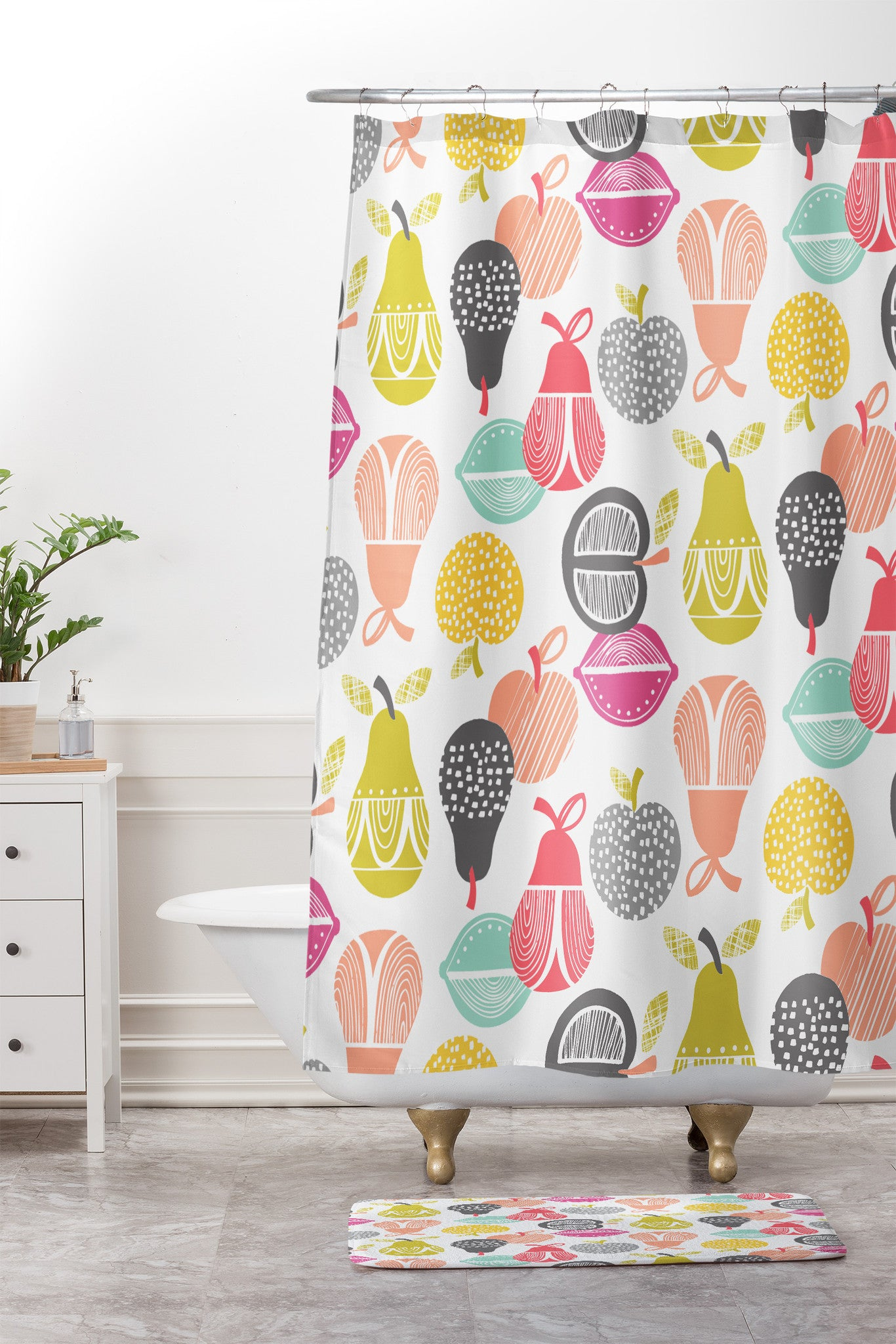 Wendy Kendall Retro Fruit Shower Curtain And Mat