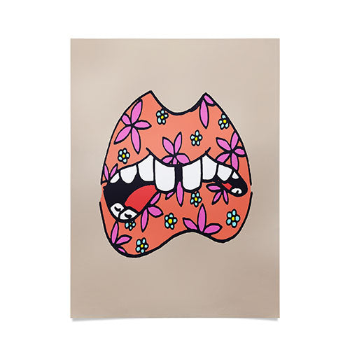 Wesley Bird Floral Lips Poster