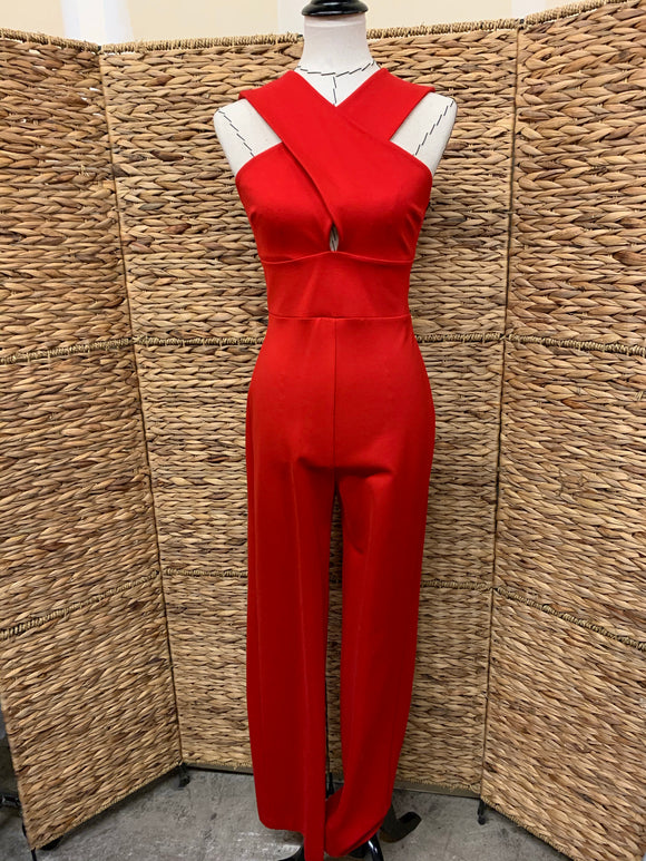 Susana Monaco Red Cross Front Jumpsuit