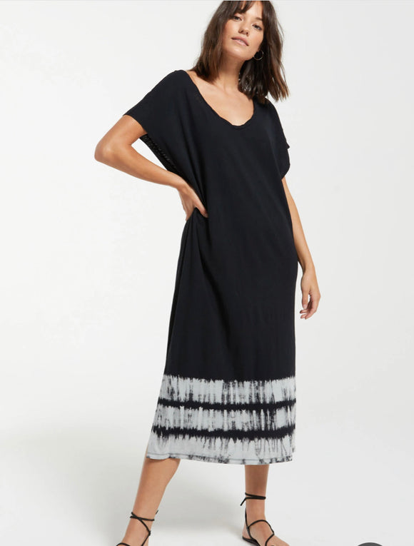 Black Tie Dye Tee Shirt Dress