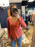Bailey44 Coral L/S Drape Overlay Shirt Dusty Coral