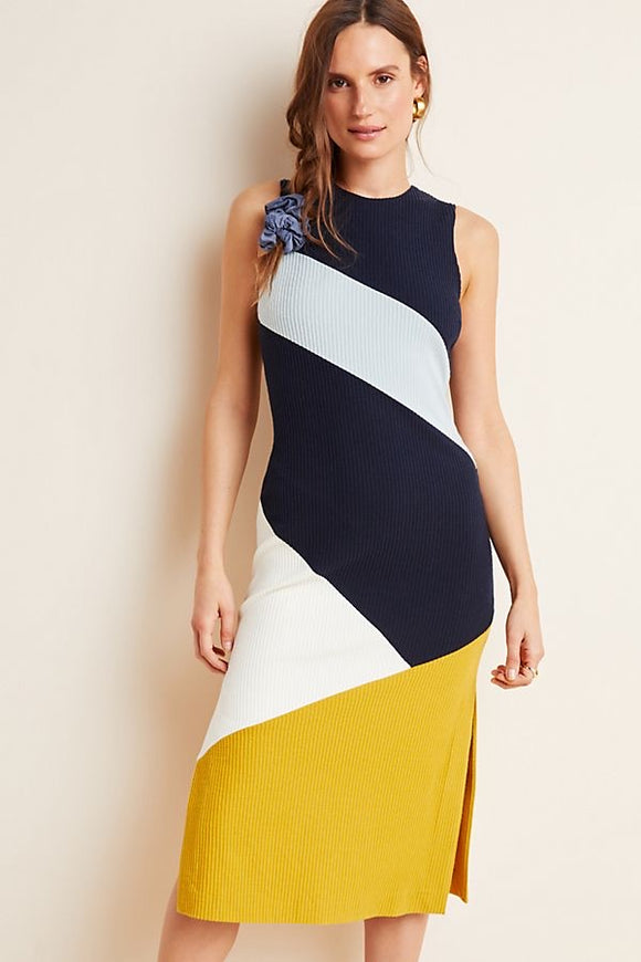 Hutch Navy Ribbed Colorblock Midi Dress