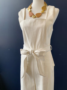 En Saison Denim Ivory Square Neck Jumpsuit