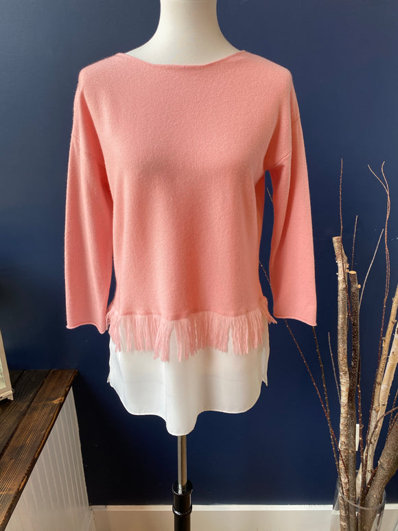 Tyler Boe Pink Cashmere Overlay Sweater