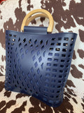 Navy Joy Susan Madison Cut Out Tote