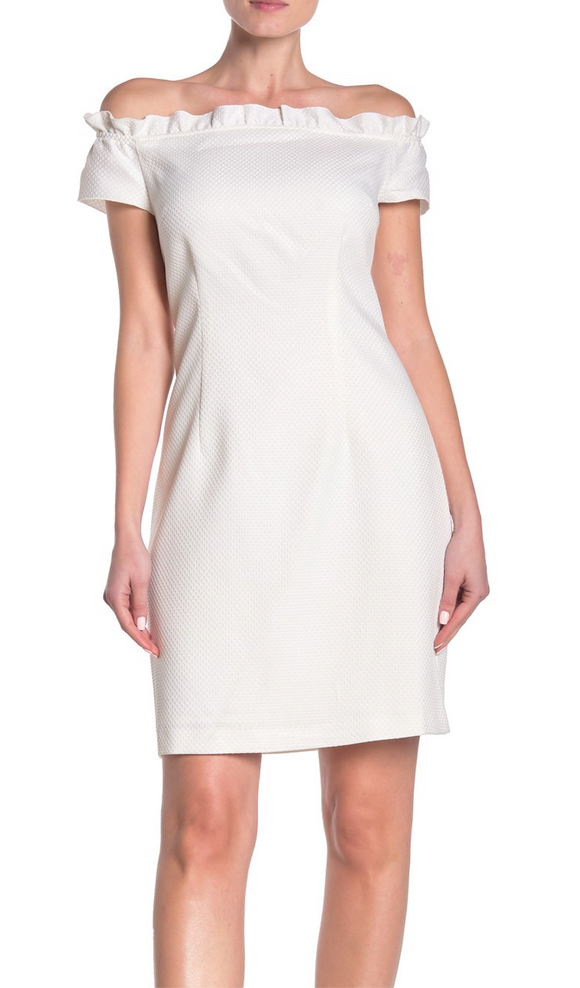 Trina Trina Turk White Textured Off Shoulder Dress