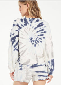 Z Supply Navy Tie Dye Sweatshirt
