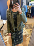 Green Camo Midi Length L/S Jersey Dress