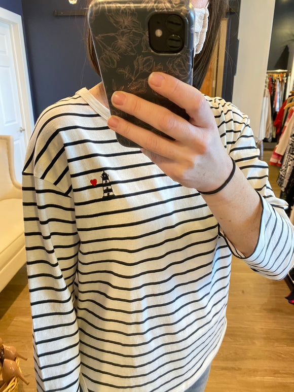 Black & White Stripe Lighthouse Tee