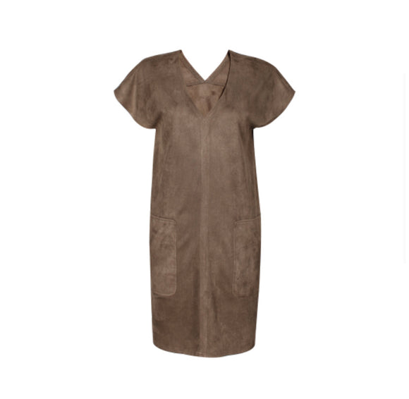Olive Faux Suede T Shirt Dress