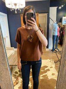 Brown Round Knit Shell