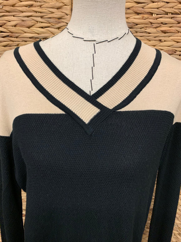 Lysse Black/Cream Vintage V Neck Sweater