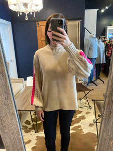 Pink Stripe Rib Knit Sweater
