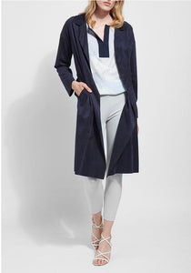 Lysse Navy Faux Suede Trench