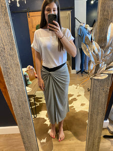 Chris Gramer Grey Twist Front Skirt