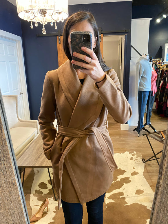 Camel Wrap Wide Lapel Jacket
