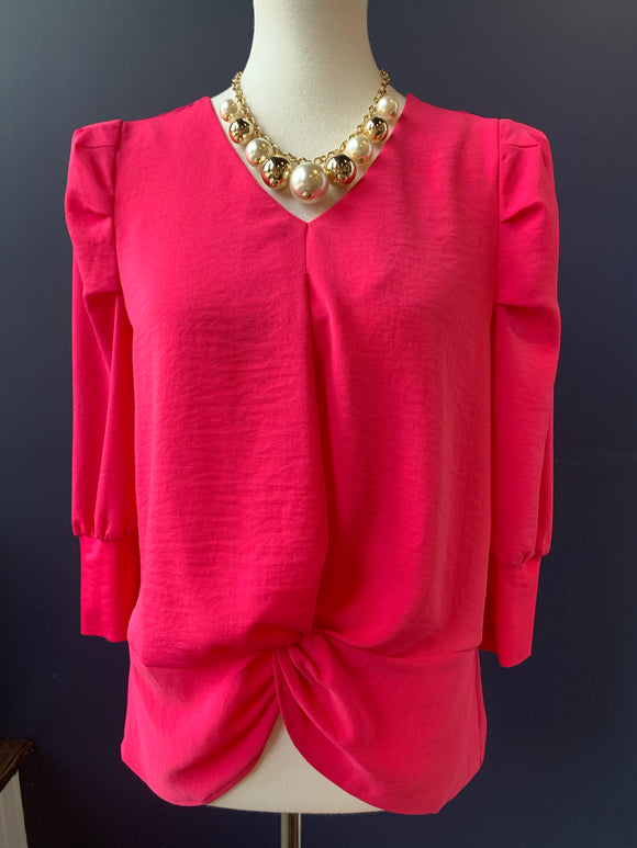 Patrizia Luca Pink Puff Shoulder Knot Front Blouse