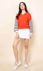 Drop Shoulder Striped Sleeve Sweater