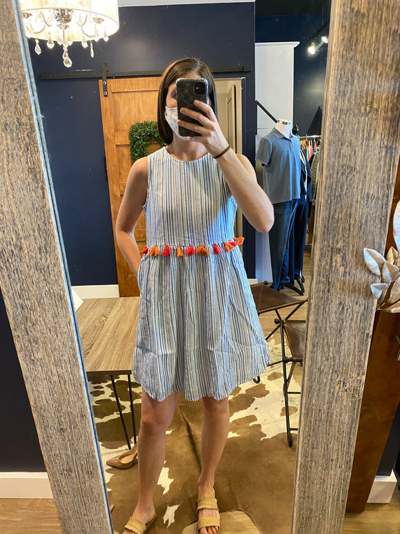 Blue Striped Dress w/ Tassel Waist