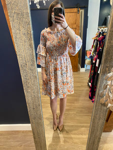 Pink Floral Smock Top Off Shoulder Dress