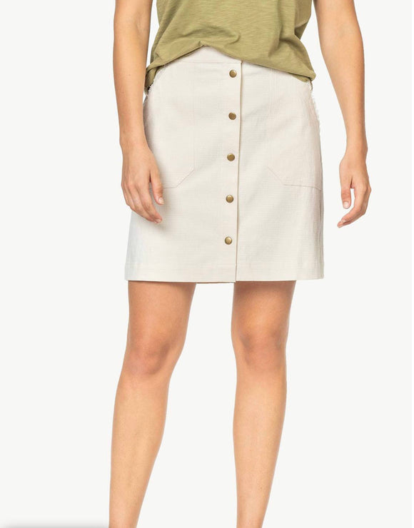 Lilla P Cement Button Front Skirt