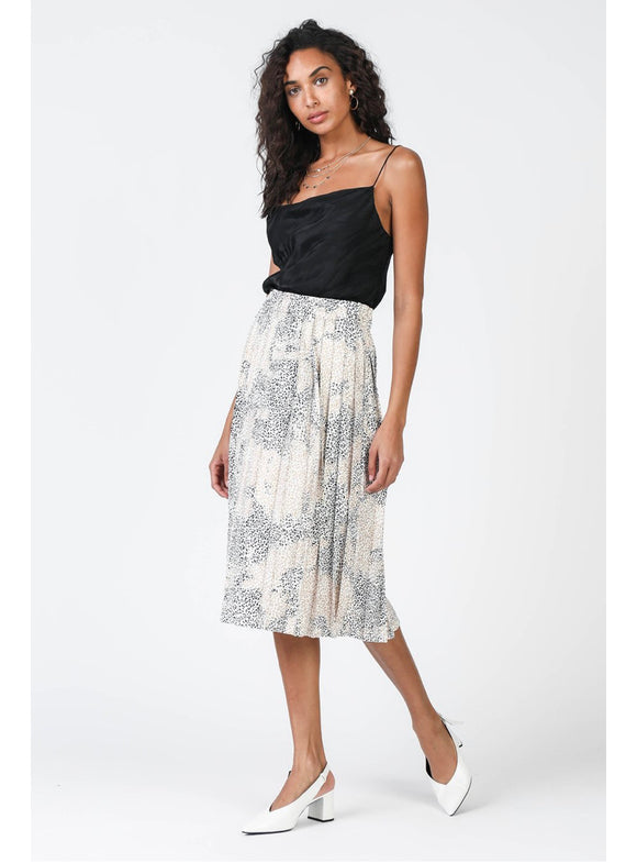 White Leopard Midi Knife Pleat Skirt