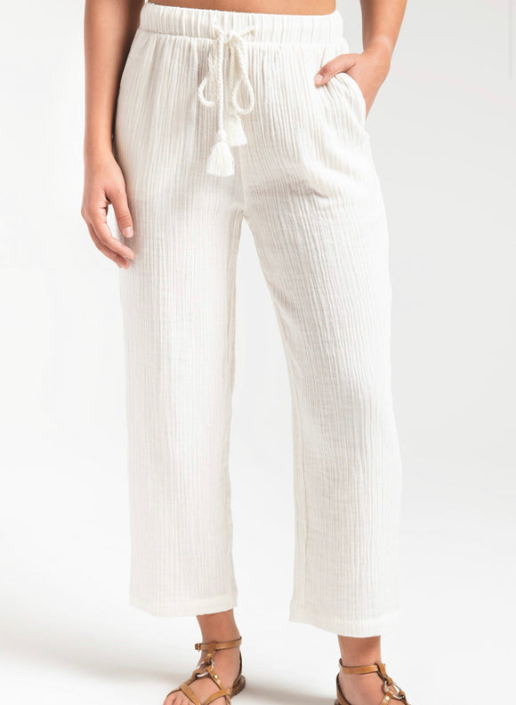 Z Supply Off White Texture Tie Pant