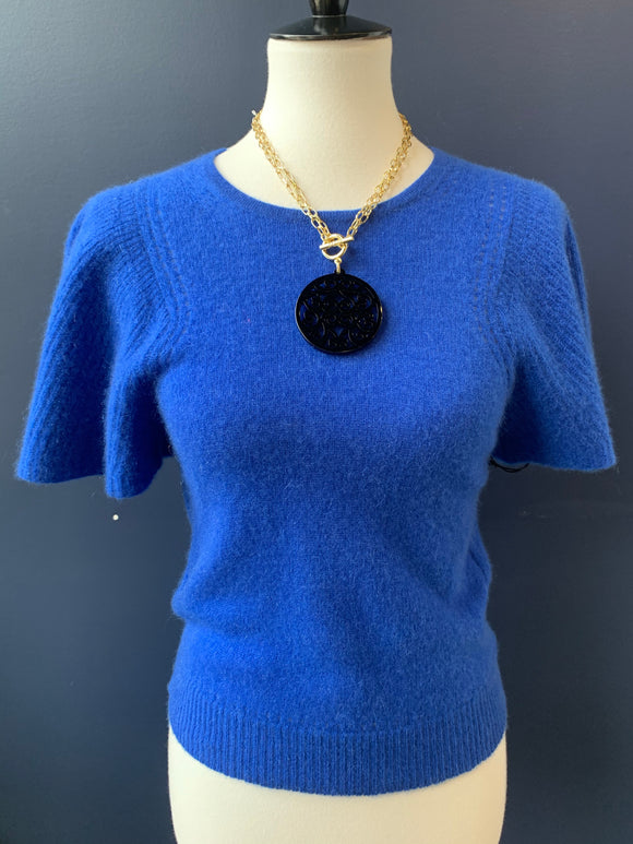 White & Warren Cobalt Blue Flutter Sleeve Cashmere