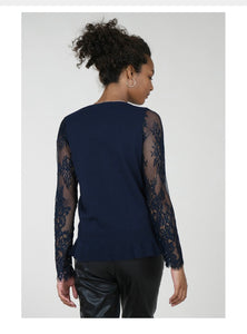 Navy Lace Sleeve Sweater